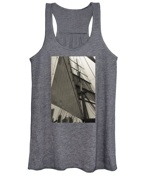 Suare And Triangle Black And White Sepia Women's Tank Top