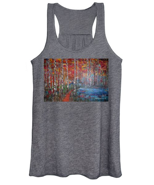 Sunlit Birch Pathway Women's Tank Top