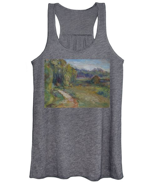 Sunny Morning In The Park -wetlands - Original - Textural Palette Knife Painting Women's Tank Top