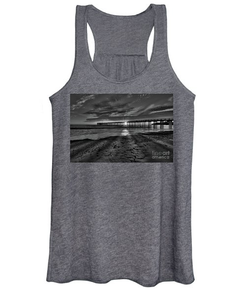 Sunrays Through The Pier In Black And White Women's Tank Top