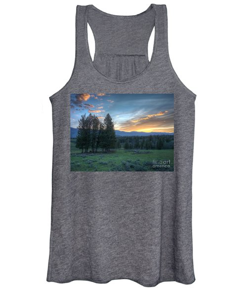 Sunrise Behind Pine Trees In Yellowstone Women's Tank Top