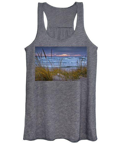 Sunset On The Beach At Lake Michigan With Dune Grass Women's Tank Top