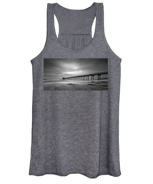 The Scripps Pier - Black And White Women's Tank Top