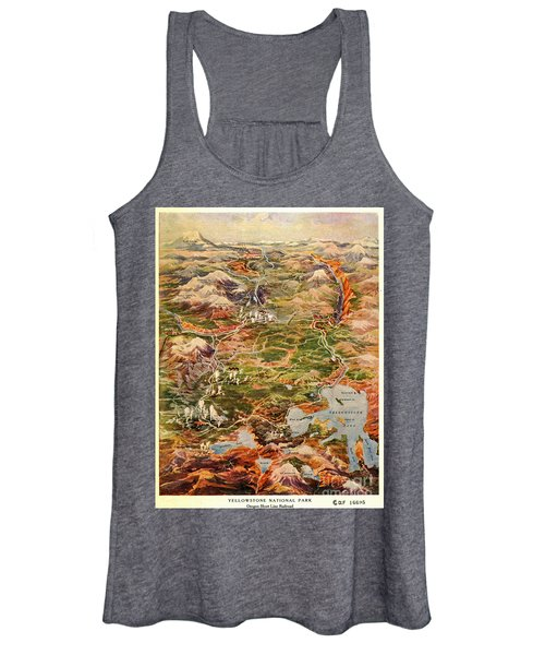 Vintage Map Of Yellowstone National Park Women's Tank Top