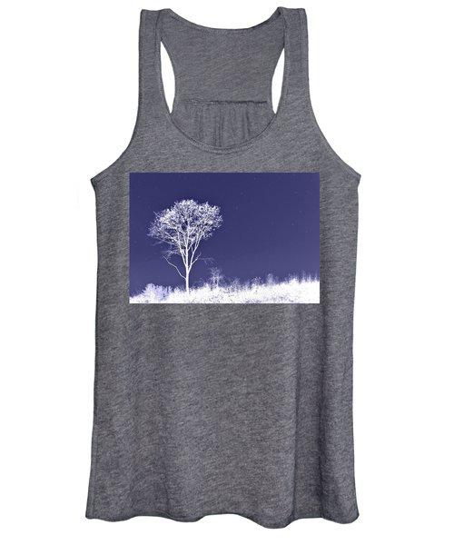 White Tree - Blue Sky - Silver Stars Women's Tank Top