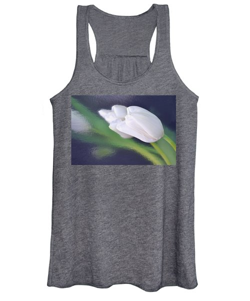White Tulip Reflected In Dark Blue Water Women's Tank Top