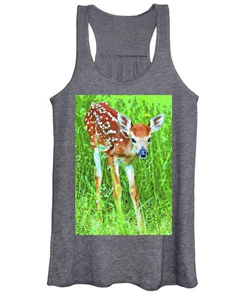Whitetailed Deer Fawn Digital Image Women's Tank Top