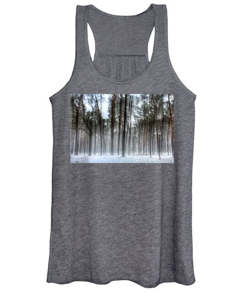 Winter Light In A Forest With Dancing Trees Women's Tank Top