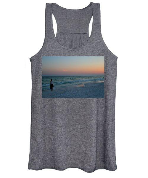 Woman On Beach At Dusk Women's Tank Top