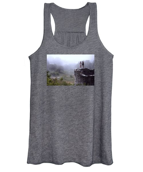 Women Overlooking Bright Foggy Valley Women's Tank Top