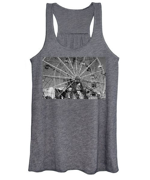 Wonder Wheel Of Coney Island In Black And White Women's Tank Top