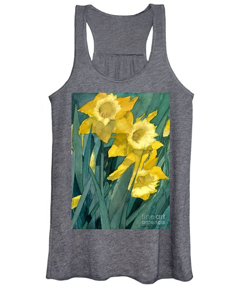 Watercolor Painting Of Blooming Yellow Daffodils Women's Tank Top