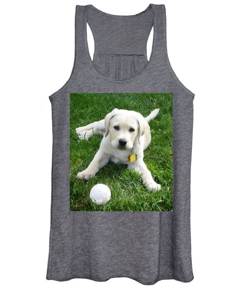Yellow Lab Puppy Got A Ball Women's Tank Top