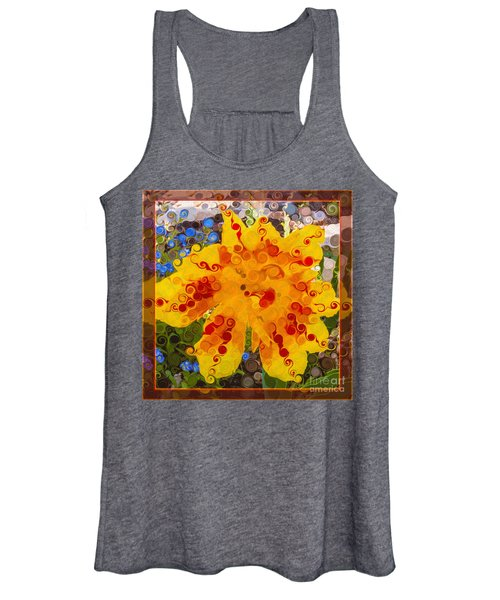 Yellow Lily With Streaks Of Red Abstract Painting Flower Art Women's Tank Top