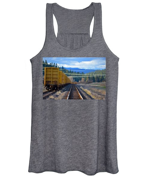 Yellow Train To The Mountains Women's Tank Top