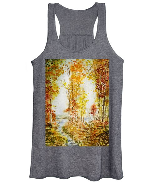 Autumn Forest Falling Leaves Women's Tank Top