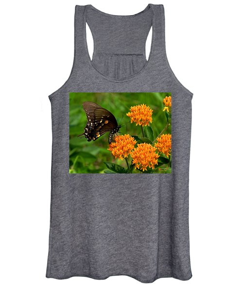 Black Swallowtail Visiting Butterfly Weed Din012 Women's Tank Top
