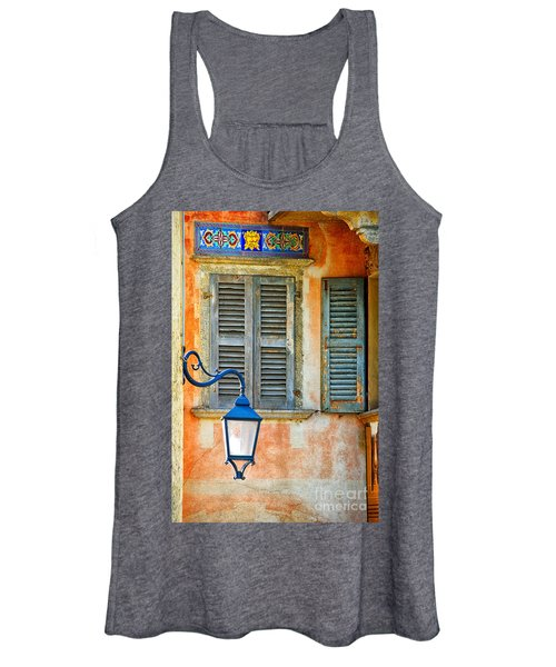 Italian Street Lamp With Window And Decorated Wall Women's Tank Top