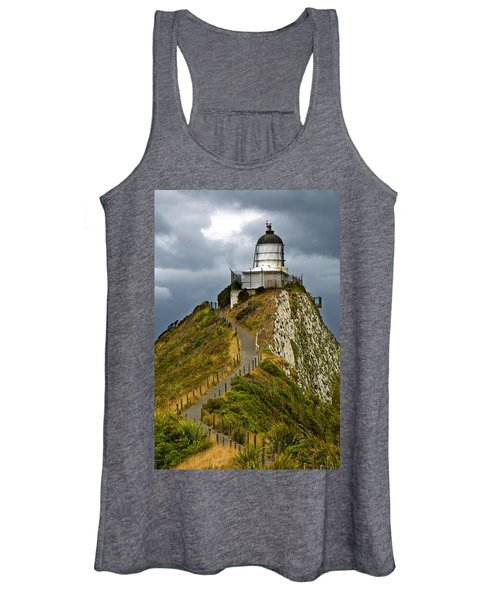 Nugget Point Light House And Dark Clouds In The Sky Women's Tank Top