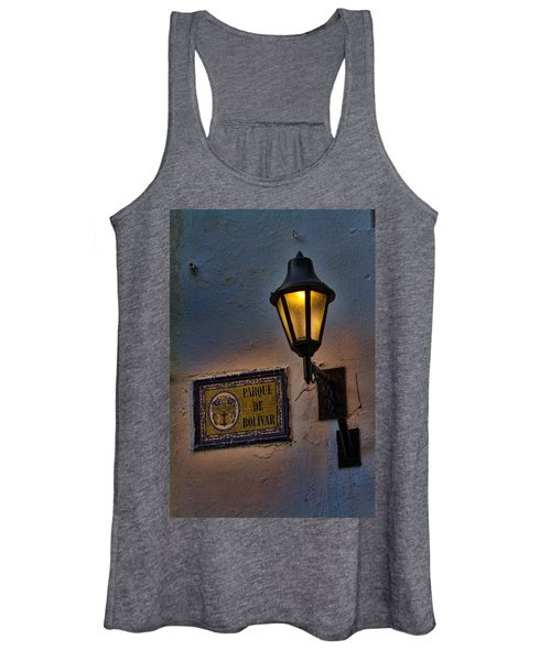 Old Lamp On A Colonial Building In Old Cartagena Colombia Women's Tank Top