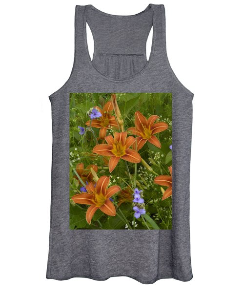 Orange Daylily With Virginia Spiderwort Women's Tank Top