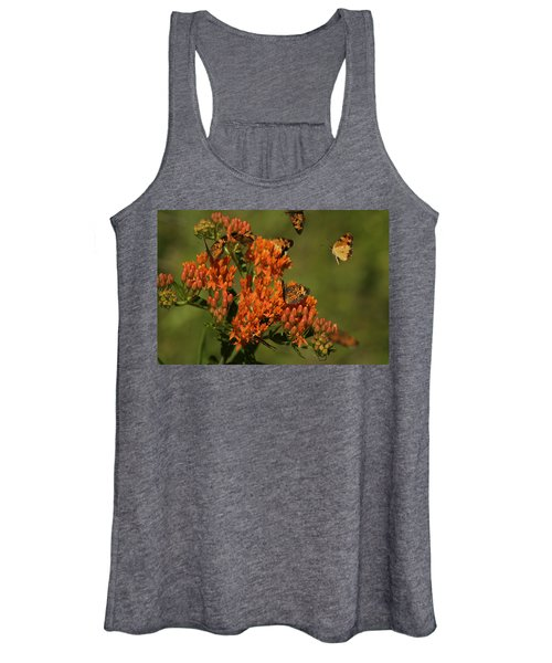 Pearly Crescentpot Butterflies Landing On Butterfly Milkweed Women's Tank Top