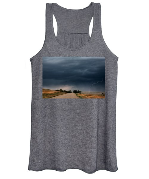 Storm Clouds And Lightning Along A Saskatchewan Country Road Women's Tank Top
