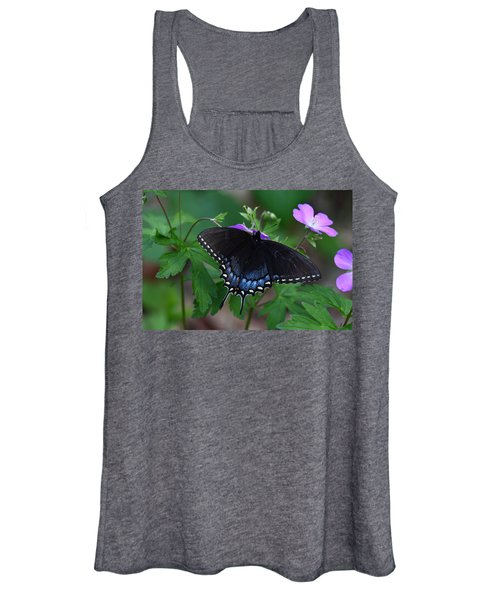 Tiger Swallowtail Female Dark Form On Wild Geranium Women's Tank Top