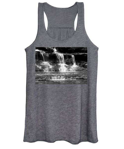 Waterfall Trio At Mcconnells Mill State Park In Black And White Women's Tank Top