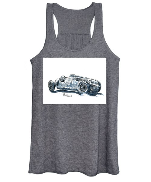 Auto Union Typ C Classic Racecar Ink Drawing And Watercolor Women's Tank Top