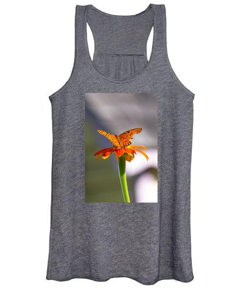 Butterfly On Flower Women's Tank Top