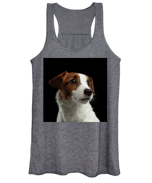 Closeup Portrait Of Jack Russell Terrier Dog On Black Women's Tank Top