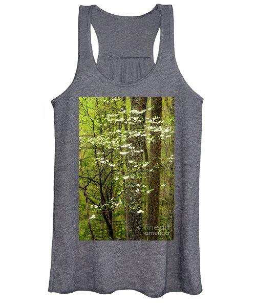 Dogwood Blooming In Forest Women's Tank Top
