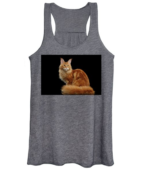 Ginger Maine Coon Cat Isolated On Black Background Women's Tank Top