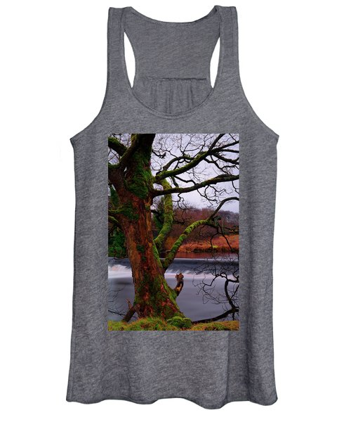 Mossy Tree Leaning Over The Smooth River Wharfe Women's Tank Top