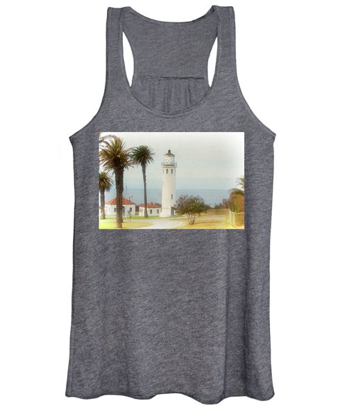 Point Vincente Lighthouse, California In Retro Style Women's Tank Top