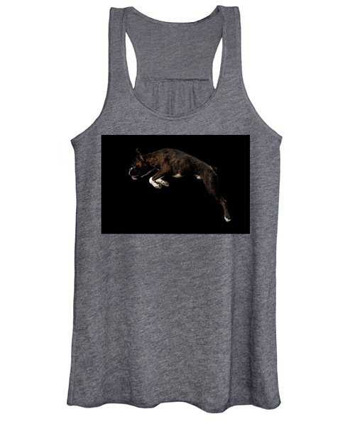 Purebred Boxer Dog Isolated On Black Background Women's Tank Top