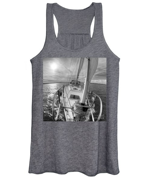 Sailing Yacht Fate Beneteau 49 Black And White Women's Tank Top