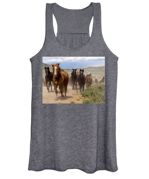 Sombrero Ranch Horse Drive, An Annual Event In Maybell, Colorado Women's Tank Top