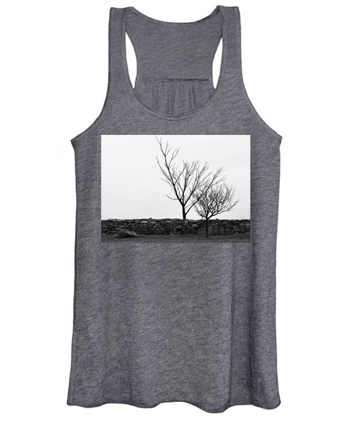Stone Wall With Trees In Winter Women's Tank Top