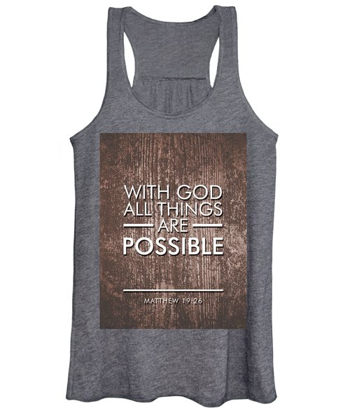With God All Things Are Possible - Bible Verses Art Women's Tank Top