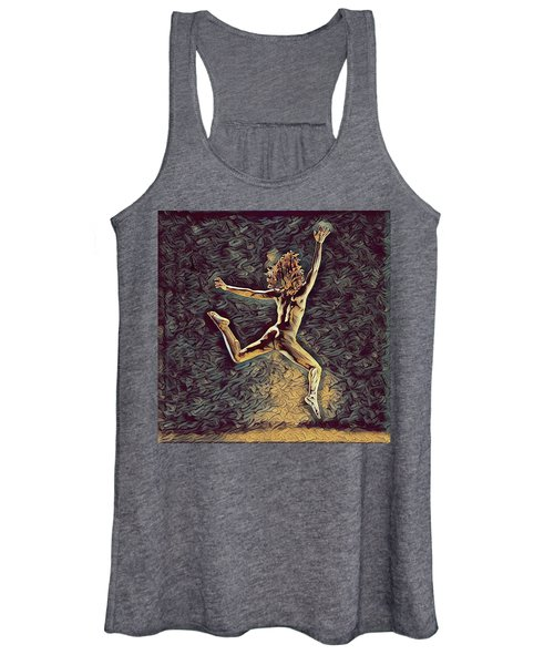 1307s-dancer Leap Fit Black Woman Bare And Free Women's Tank Top