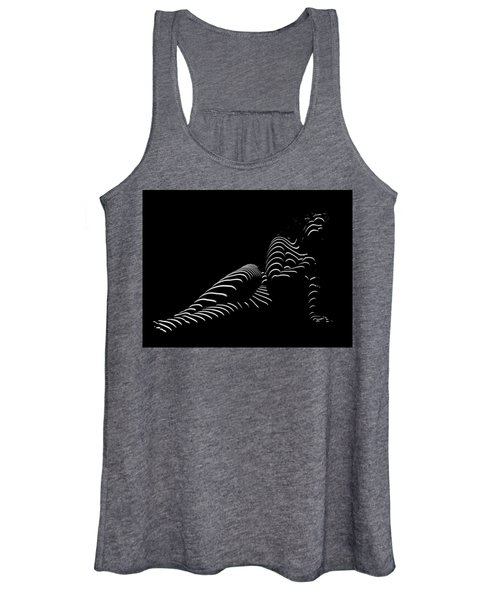 1370-tnd Zebra Woman Striped Woman Black And White Abstract Photo By Chris Maher Women's Tank Top