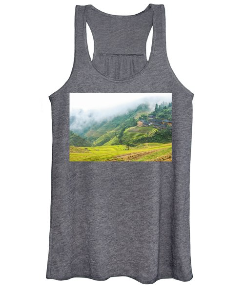 Terrace Fields Scenery In Autumn Women's Tank Top