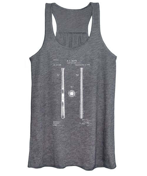 1885 Baseball Bat Patent Artwork - Gray Women's Tank Top