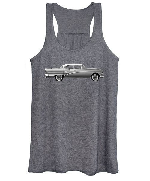 1958 Buick Roadmaster 75 In Black And White Women's Tank Top