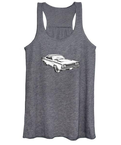 1968 Plymouth Roadrunner Muscle Car Illustration Women's Tank Top