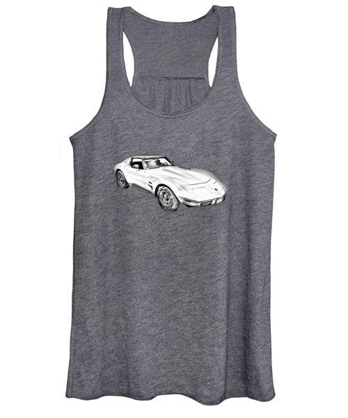 1975 Corvette Stingray Sports Car Illustration Women's Tank Top