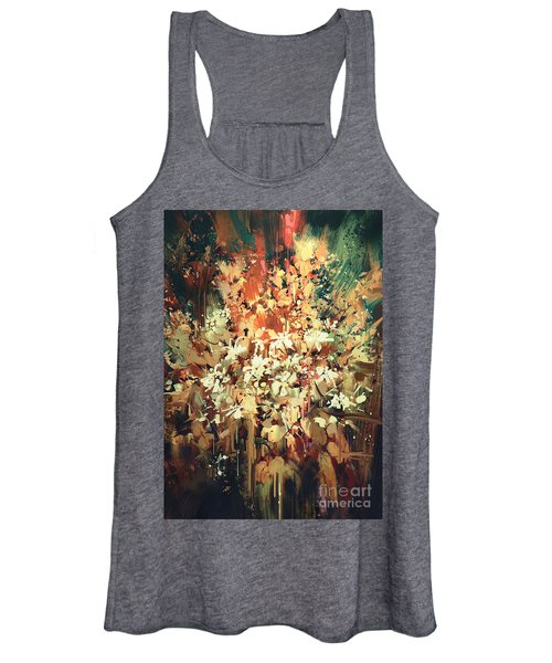 Women's Tank Top featuring the painting Abstract Flowers by Tithi Luadthong