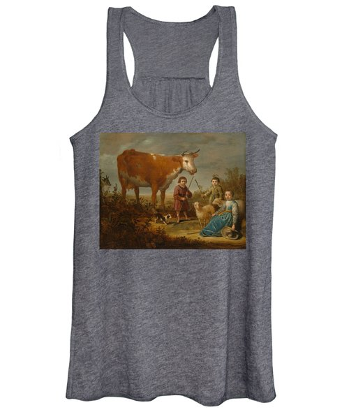 Children And A Cow Women's Tank Top